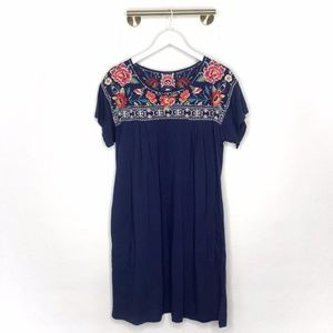 Johnny Was Samira Embroidered Peasant Navy Dress L